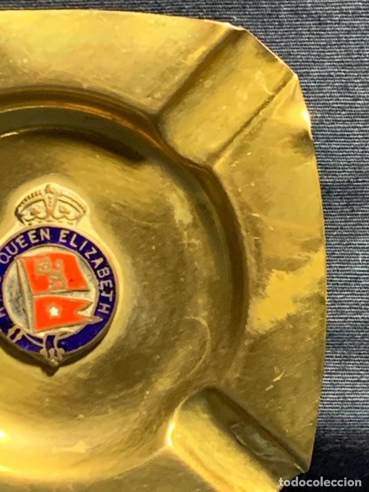 Ceniceros: cenicero royal majesty ship queen elizabeth transatlantico esmalte laton 1ª mitad s xx 1940 1967 - Foto 9 - 233827075