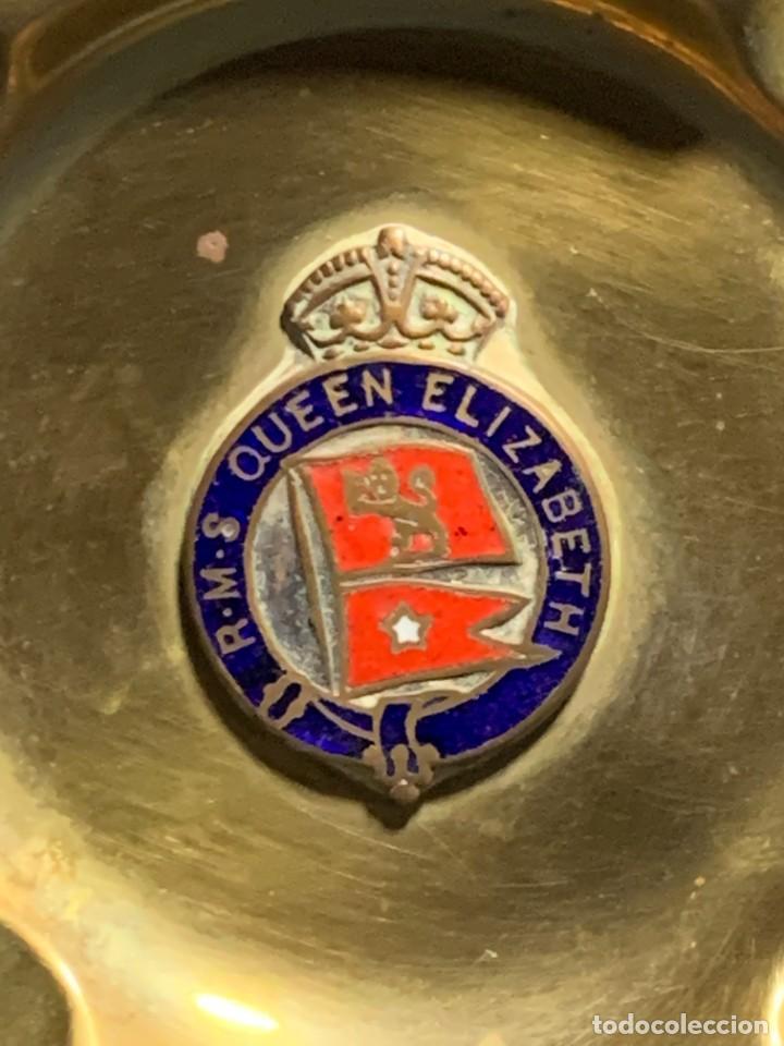 Ceniceros: cenicero royal majesty ship queen elizabeth transatlantico esmalte laton 1ª mitad s xx 1940 1967 - Foto 11 - 233827075