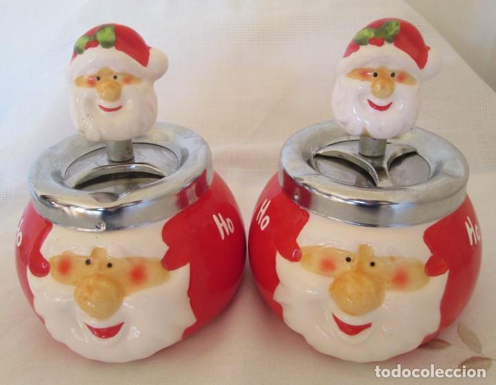 Ceniceros: Pareja de ceniceros con motivo navideño, en cerámica y metal. - Foto 2 - 261113985