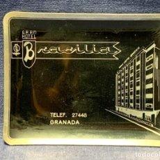 Ceniceros: CENICERO ALUMINIO GRAN HOTEL BRASILIA GRANADA 9X12CMS. Lote 270947073