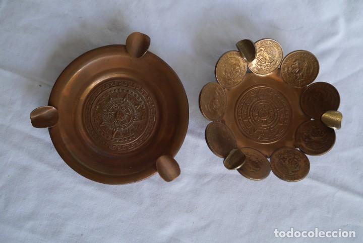 Ceniceros: 2 ceniceros de cobre México, calendario Azteca - Foto 2 - 278421173