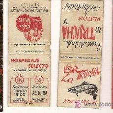 Cajas de Cerillas: 4 CAJAS DE CERILLAS ANTIGUAS. LA TRUCHA, CASA MANOLO, CAFÉS VALDÉS, URBANIZACIÓN LA CIERVA.. Lote 21451221