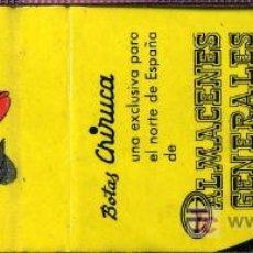 Cajas de Cerillas: CERILLAS - CHIRUCA BOTAS. ALMACENES GENERALES. OVIEDO. Lote 5883764