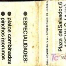 Cajas de Cerillas: CERILLAS - AVILA. AREVALO - CAFETERIA LOS PINARES - PZA DEL SALVADOR 6 - AÑOS 60/70. Lote 10505152