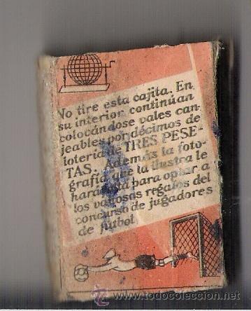 Cajas de Cerillas: COLECCION TEMPORADA DE FUTBOL 1936 - 1937 Nº 79 MANUEL FERNANDEZ - Foto 2 - 11856644