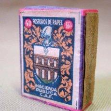 Cajas de Cerillas: CAJA DE CERILLAS FOSFOROS DE PAPEL HACIENDA PUBLICA VACIA SEGOVIA. Lote 18536907