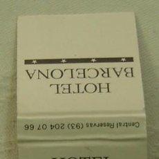 Cajas de Cerillas: CAJA CERILLAS PUBLICIDAD HOTEL BARCELONA - HOGAMA HOTELES - COMPLETA. Lote 19031950