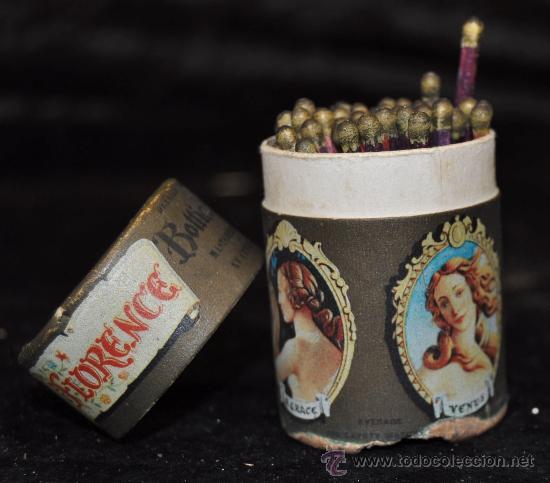 PRECIOSA Y ANTIGUA CAJA DE CERILLAS. FLORENCE PAINTINGS. COMPLETA. (Coleccionismo - Objetos para Fumar - Cajas de Cerillas)