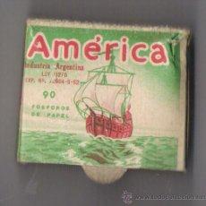 Cajas de Cerillas: AMERICA INDUSTRIA ARGENTINA *S.A.J.MANTERO Y BAIXA LDA. -AVELLANEDA * **CON FOSFOROS ORIGINALES***. Lote 21995031