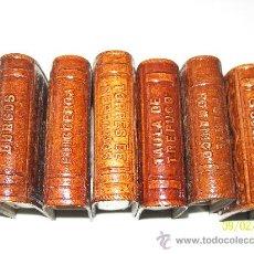 Cajas de Cerillas: SEIS CAJAS DE CERILLAS CON ESTUCHE DE CUERO REPUJADO - CON MOTIVOS DIFERENTES. Lote 25667161