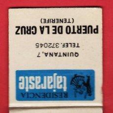Cajas de Cerillas: CAJA CERILLAS / CARTERILLA - RESIDENCIA TAJARASTE - PUERTO DE LA CRUZ - TENERIFE - VACIA - AÑOS 70 . Lote 25769910