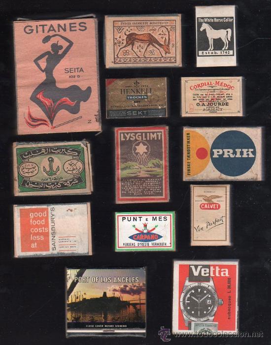 LOTE DE 13 CAJAS DE CERILLAS DE MADERA. (Coleccionismo - Objetos para Fumar - Cajas de Cerillas)