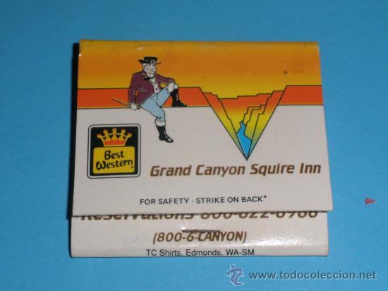 CAJA DE CERILLAS - HOTEL GRAND CANYON SQUIRE INN - BEST WESTERN (Coleccionismo - Objetos para Fumar - Cajas de Cerillas)