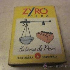 Cajas de Cerillas: CAJA DE CERILLAS ZYRO BALANZA DE PESAS. Lote 29930957