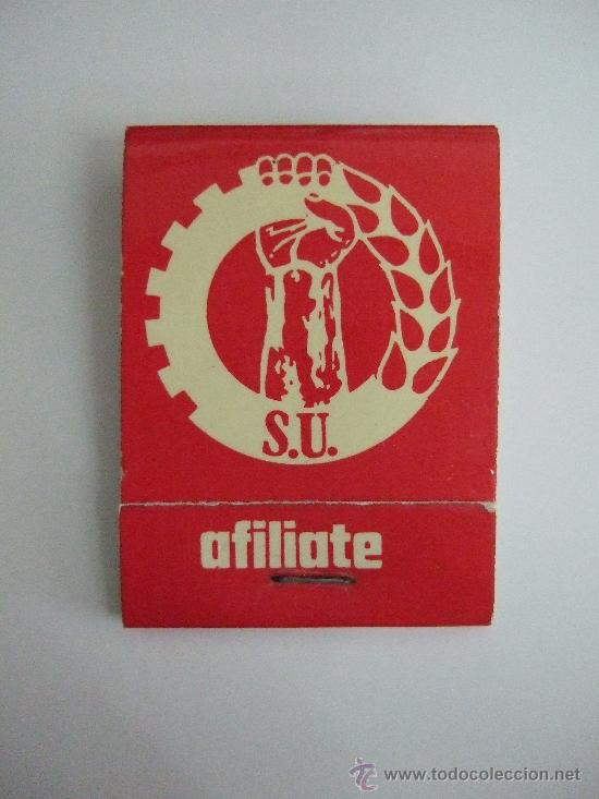 CARTERILLA CERILLAS DEL SINDICATO UNITARIO (SU) - AÑOS 80 - USADA - MIXTOS FOSFOROS (Coleccionismo - Objetos para Fumar - Cajas de Cerillas)