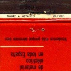 Cajas de Cerillas: CAJA DE CERILLAS. CARTERITA. ELECTROFIL. Lote 30632540