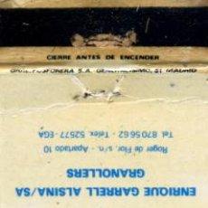 Cajas de Cerillas: CAJA DE CERILLAS. CARTERITA. EGA. INTERRUPTORES AUTOMATICOS MAGNETOTERMICOS. GRANOLLERS. Lote 31038099