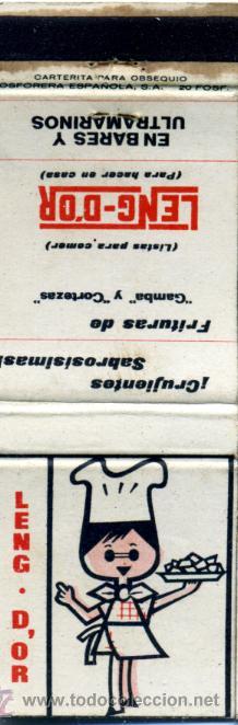 CAJA DE CERILLAS. CARTERITA. LENG-D'OR FRITURAS DE GAMBA Y CORTEZAS (Coleccionismo - Objetos para Fumar - Cajas de Cerillas)