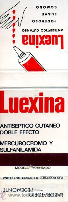 CAJA DE CERILLAS. CARTERITA. LUEXINA. ANTISÉPTICO CUTANEO (Coleccionismo - Objetos para Fumar - Cajas de Cerillas)