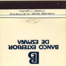 Cajas de Cerillas: CAJA DE CERILLAS. CARTERITA. BANCO EXTERIOR DE ESPAÑA. Lote 31910960