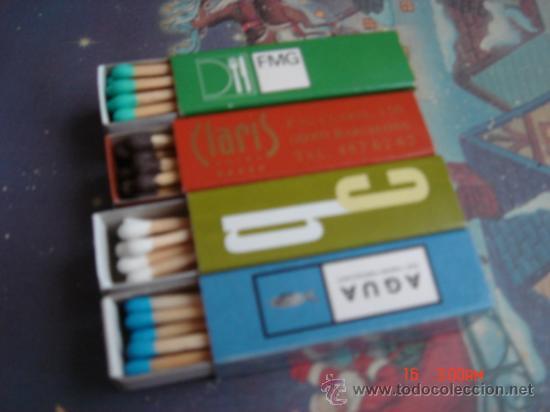 4 CAJAS DE CERILLAS PUBLICIDAD CON SUS CERILLAS DE VARIOS COLORES, LARGAS Y CUADRADAS. (Coleccionismo - Objetos para Fumar - Cajas de Cerillas)