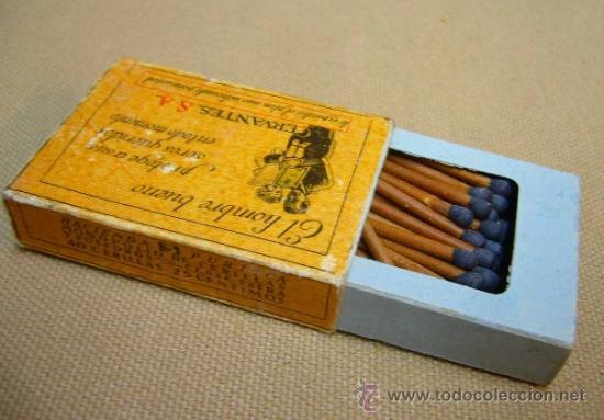 RARA CAJA DE CERILLAS, HACIENDA PUBLICA, COMPANIA ARRENDATARIA DE FOSFOROS, CERVANTES S.A., MADRID (Coleccionismo - Objetos para Fumar - Cajas de Cerillas)