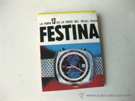 CAJA DE CERILLAS CON PUBLICIDAD DE RELOJES FESTINA - AÑOS 80 (Coleccionismo - Objetos para Fumar - Cajas de Cerillas)