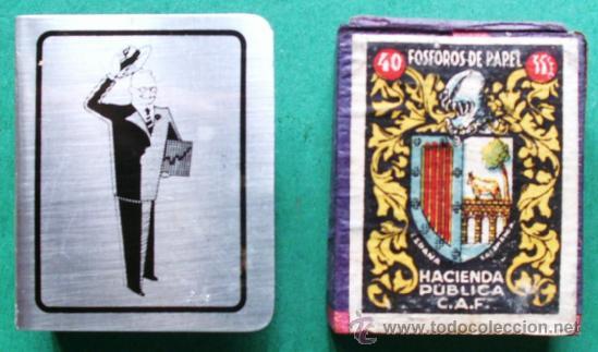 ANTIGUA CAJA DE CERILLAS DE MADERA CON CUBRECAJA DE LATON DE PUBLICIDAD AÑOS 50 (Coleccionismo - Objetos para Fumar - Cajas de Cerillas)