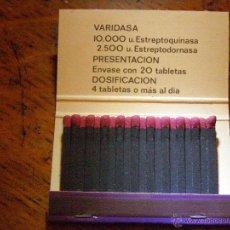 Cajas de Cerillas: ANTIGUA CAJA DE CERILLAS -VARIDASA - MEDICAMENTOS - CONTRA TODO TIPO DE TRAUMAS - LEDERLE -. Lote 40965860