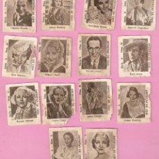 Cajas de Cerillas: LOTE DE 14 CROMOS - ARTISTAS DE CINE - IMPERIO ARGENTINA ENTRE OTROS - FOTOTIPIAS?. Lote 42287653