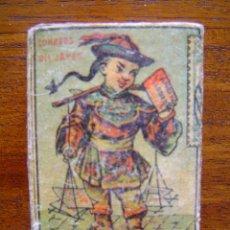 Cajas de Cerillas: PRECIOSA CAJA DE CERILLAS DEL SIGLO XIX - CORREOS JAPÓN - EL BAUL - CAMPS Y LLOBERA - TARREGA. Lote 43385426