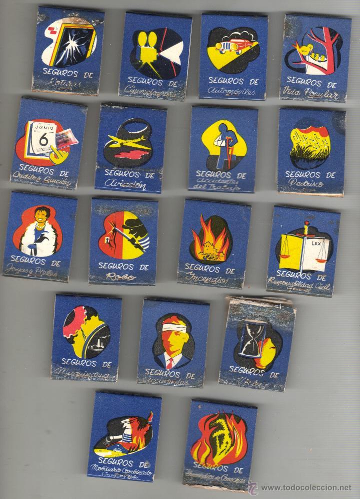 COLE DE 17 CAJAS DE CERILLAS DE SEGUROS PLUS ULTRA -CON SU CAJA DE ORIGEN - FALTA UNA P COLE COMPLET (Coleccionismo - Objetos para Fumar - Cajas de Cerillas)