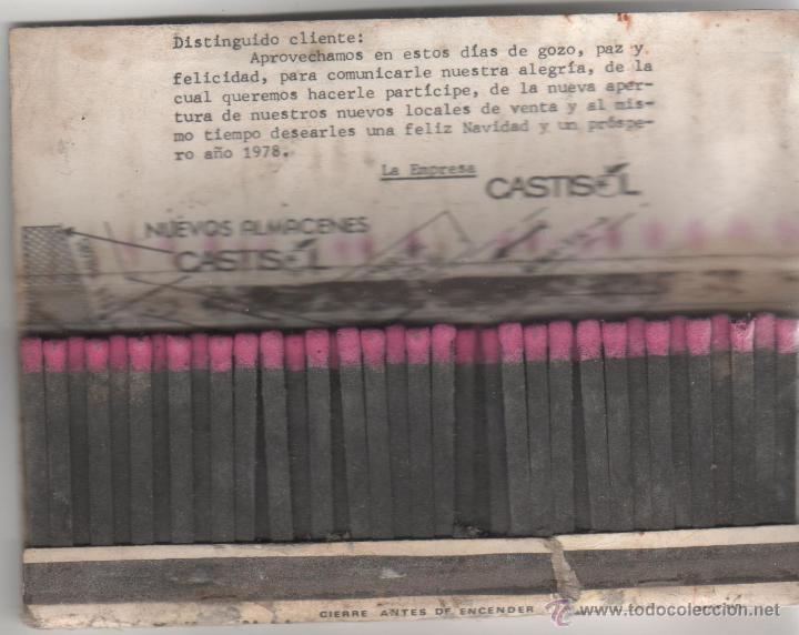 Cajas de Cerillas: caja de cerillas con numero de loteria años 70 castisol - Foto 2 - 44721352