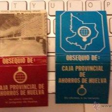 Cajas de Cerillas: CAJA DE CERILLAS CAJA PROVINCIAL DE AHORROS DE HUELVA. 2 UNIDADES, 1 USADA UN CERILLO. Lote 46302991