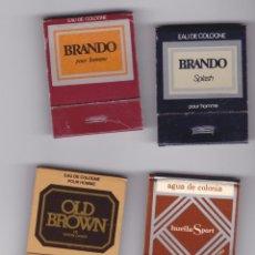 Cajas de Cerillas: AGUAS DE COLONIA, BRANDO, OLD BROWN, HUELLA DE EGREMA. AÑOS 70, LOTE 4 CAJITAS TIPO CARTERITA. Lote 69931151