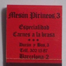 Cajas de Cerillas: ANTIGUA CAJA DE CERILLAS (MESON PIRINEOS 3) GRAL. FOSFORERA,S.A. - Pº DE LA CASTELLANA,121 MADRID. Lote 49050227