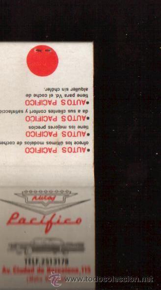 CERILLAS PUBLICIDAD ANTIGUA -AUTOS PACIFICO - VER FOTOS QUE NO TE FALTE EN TU COLECCION (Coleccionismo - Objetos para Fumar - Cajas de Cerillas)