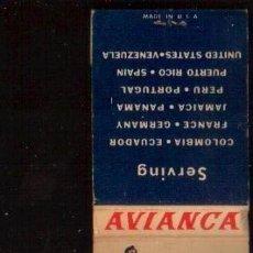 Cajas de Cerillas: CAJA DE CERILLAS -AVIANCA - VER FOTOS QUE NO TE FALTE EN TU COLECCION. Lote 49889715