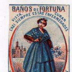 Cajas de Cerillas: CROMO DE CAJA DE CERILLAS. BAÑOS DE FORTUNA. VALENCIA TRAJE REGIONAL 4 X 6 CM. Lote 50138976