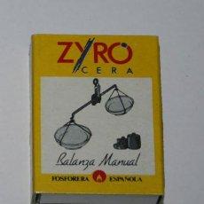 Cajas de Cerillas: CAJA VINTAGE DE CERILLAS, ZYRO BALANZA MANUAL, LLENA. Lote 50562625