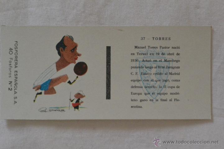 CAJA CERILLAS FOSFORERA ESPAÑOLA FUTBOLISTA TORRES FC ZARAGOZA (Coleccionismo - Objetos para Fumar - Cajas de Cerillas)