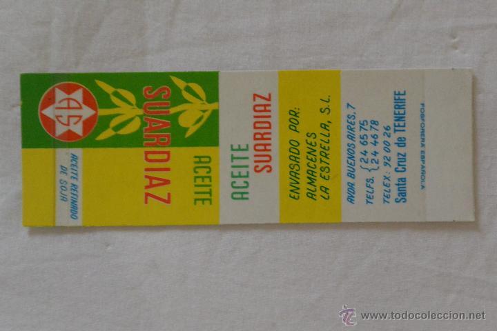 CAJA CERILLAS FOSFORERA ESPAÑOLA PUBLICIDAD ACEITE SUARDIAZ (Coleccionismo - Objetos para Fumar - Cajas de Cerillas)