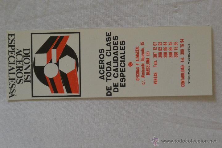 CAJA CERILLAS FOSFORERA ESPAÑOLA PUBLICIDAD DIONISI ACEROS ESPECIALES (Coleccionismo - Objetos para Fumar - Cajas de Cerillas)