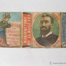 Cajas de Cerillas: ENVOLTORIO DE CAJA DE CERILLAS MANUFACTURY OF LLAUGE. GUITEAY ASESINO DEL PRESIDENTE GARFIELD. Lote 53969229