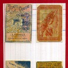 Cajas de Cerillas: LOTE 4 CROMOS CAJAS CERILLAS, SIGLO XIX , MUY ANTIGUOS ,TIPO FOTOTIPIAS , ORIGINAL, N34. Lote 53998056