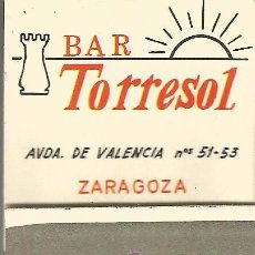 Cajas de Cerillas: ** CC19 - CAJA DE CERILLAS - BAR TORRESOL - ZARAGOZA - CON PUBLICIDAD FUNDADOR - PEDRO DOMECQ. Lote 54044498