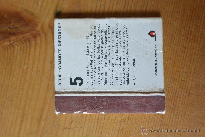 Cajas de Cerillas: CAJA CERILLAS CURRO ROMERO - Foto 2 - 54313244