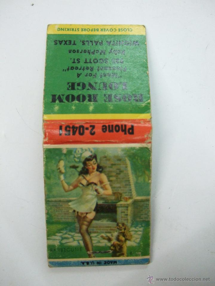 CAJA CARTERILLA CERILLAS - COMPLETA - PUBLICIDAD MADE IN USA - TEXAS - EROTICA - PIN UP - BARBECUTIE (Coleccionismo - Objetos para Fumar - Cajas de Cerillas)