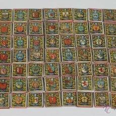 Cajas de Cerillas: COLECCION DE 96 RECORTES DE CAJAS DE CERILLAS DE MADERA. ESCUDOS DE CIUDADES. 1920-1940. Lote 49423608