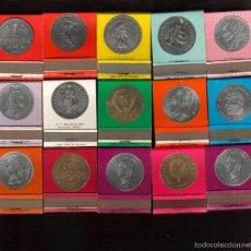 Cajas de Cerillas: PRECIOSA COLECCION COMPLETA DE 15 CAJAS CERILLAS SERIE MONEDAS VER FOTOS QUE NO TE FALTEN. Lote 57099968